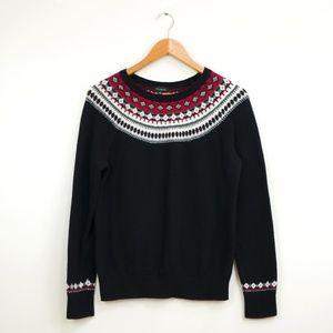 Talbots Fair Isle Black, Red, White Pullover Knit